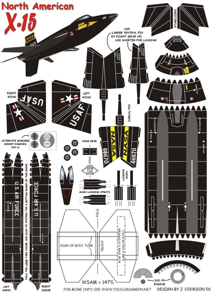 North American X-15   https://www.pinterest.com/Naih7/airplane-paper-models/