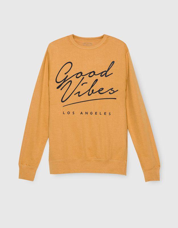 Pull&Bear - man - clothing - sweatshirts - front print sweatshirt - mustard - 09590528-I2016