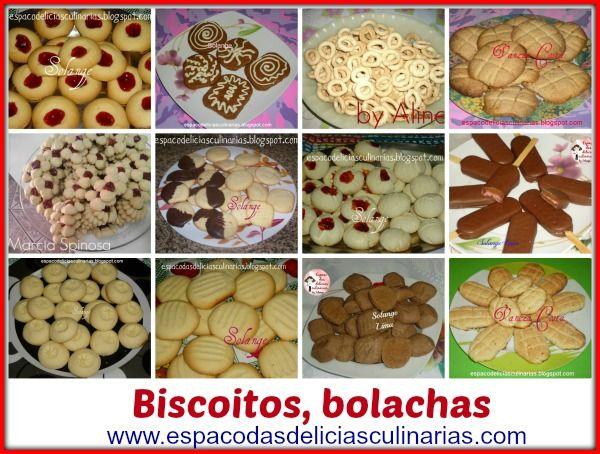 Biscoitos/bolachas, mural com as fotos e link para a receita do blog - Espaço das delícias culinárias
