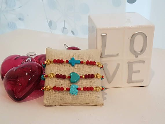 ARM Candy 3 Elephant and cross heart bracelet red adjustable
