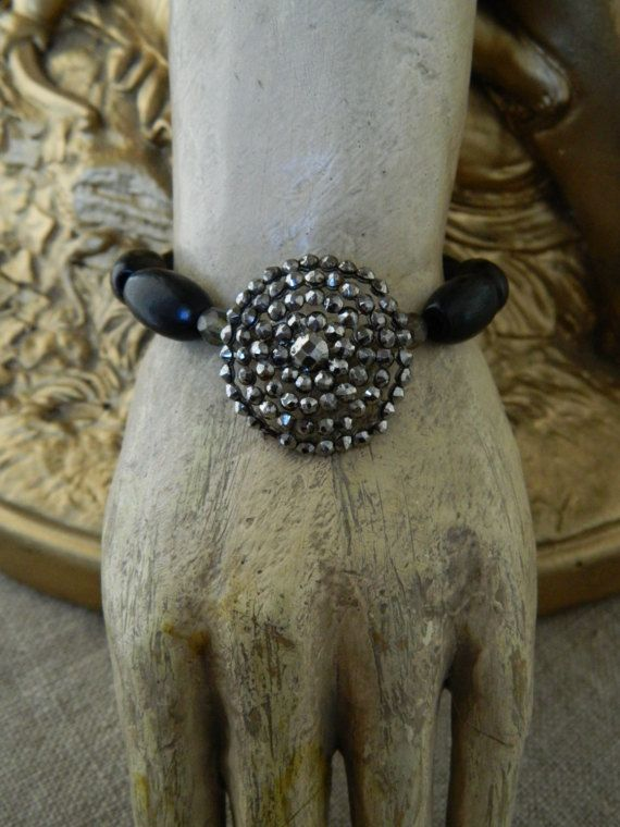 Antique Button Bracelet French Steel Cut and Rosary by 58Diamond
