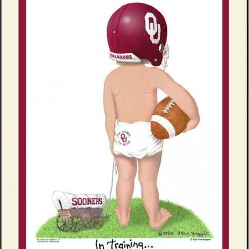 Oklahoma Sooners personalized football art print In Training matted | kidsntraining - Reproduction on ArtFire