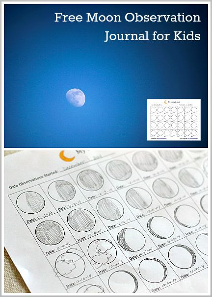 Free printable Moon Observation Journal for Kids :: learn about the moon :: moon activities ::  learn about space theme