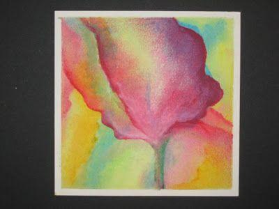 oliepastel schilderen (tutorial). Kleurvlakken maken met olie pastelkrijt. Doekje met lampenolie er voorzichtig overheen wrijven zodat kleuren overlopen. Weinig olie gebruiken. Daarna mooie lijnen accentueren.