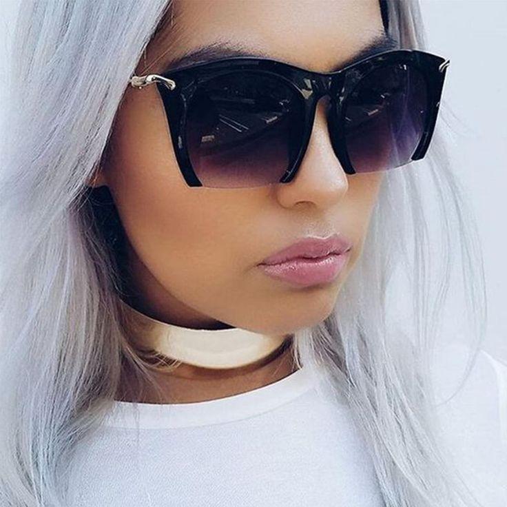 """RAZOR"" Semi Rimless Black Gradient Cut Off Lenses Oversized Women Sunglasses #AW #Square"