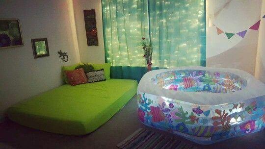 Peaceful #homebirth setup #waterbirth #naturalbirth