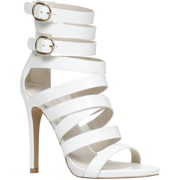 ALDO Cadramazzo sandals (280 RON) ❤ liked on Polyvore featuring shoes, sandals, heels, high heels, white, white leather shoes, high heeled footwear, leather sandals, white sandals and aldo sandals