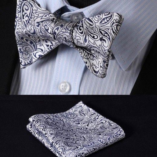 Elegantný hodvábny set - motýlik a vreckovka so vzorom v bielo-čiernej farbe