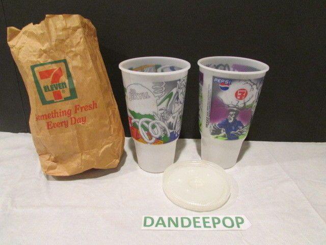 7-11 2 Pepsi Slurpee Plastic Cups With Covers & Bag Dr. Jekyll & Hyde & Wolfman #711 #Slurpee #drinkingcups #Novelty #DrJekyllMrHyde #Wolfman #Monsters #Halloween #CollectorCup #Cup #dandeepop Find me at dandeepop.com