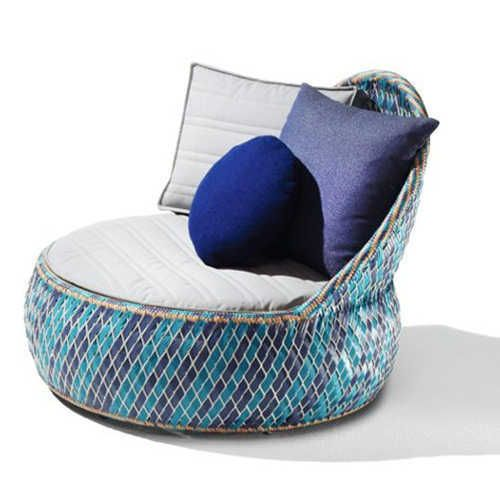 Garden Blue Round Chairs by Dedon Colorful Patio Armchair Made of Recycle Materials by Dedon