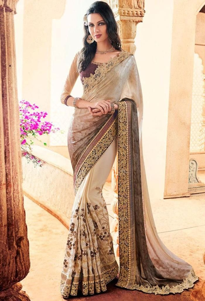 Cream Crepe Saree 41992