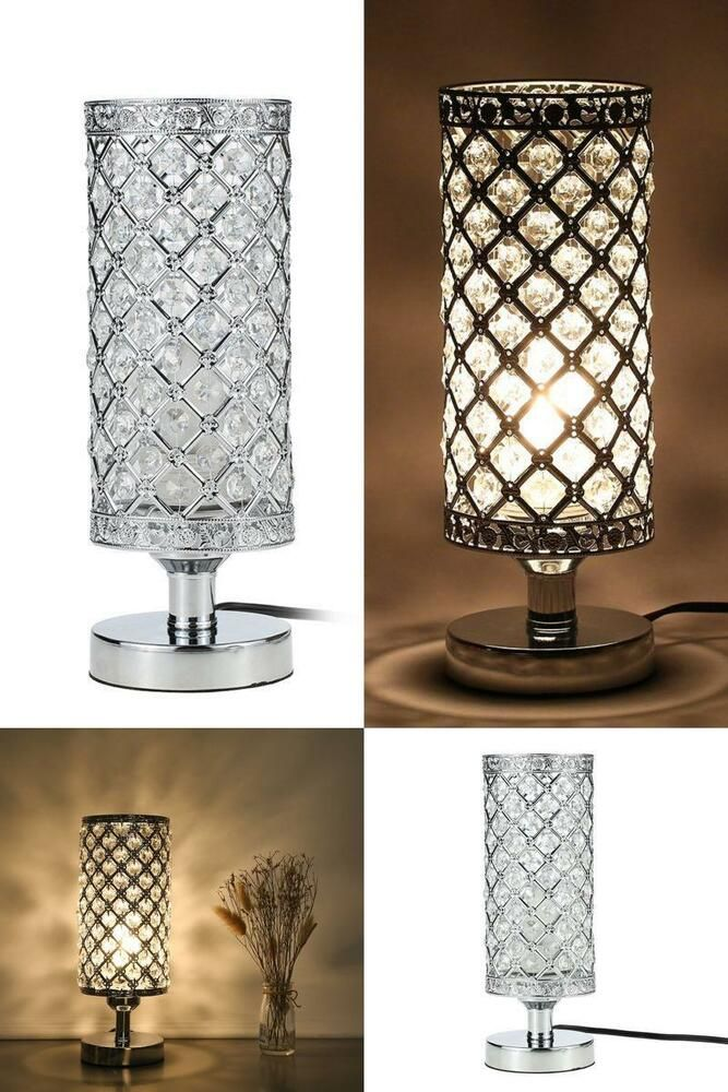 Crystal Table Lamp Bedside Bedroom Living Room Side Night Light Modern Silver Crystal Table Lamps Lamp Silver Table Lamps