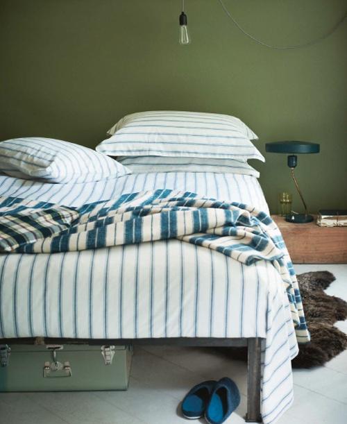 Grön sovrumsvägg