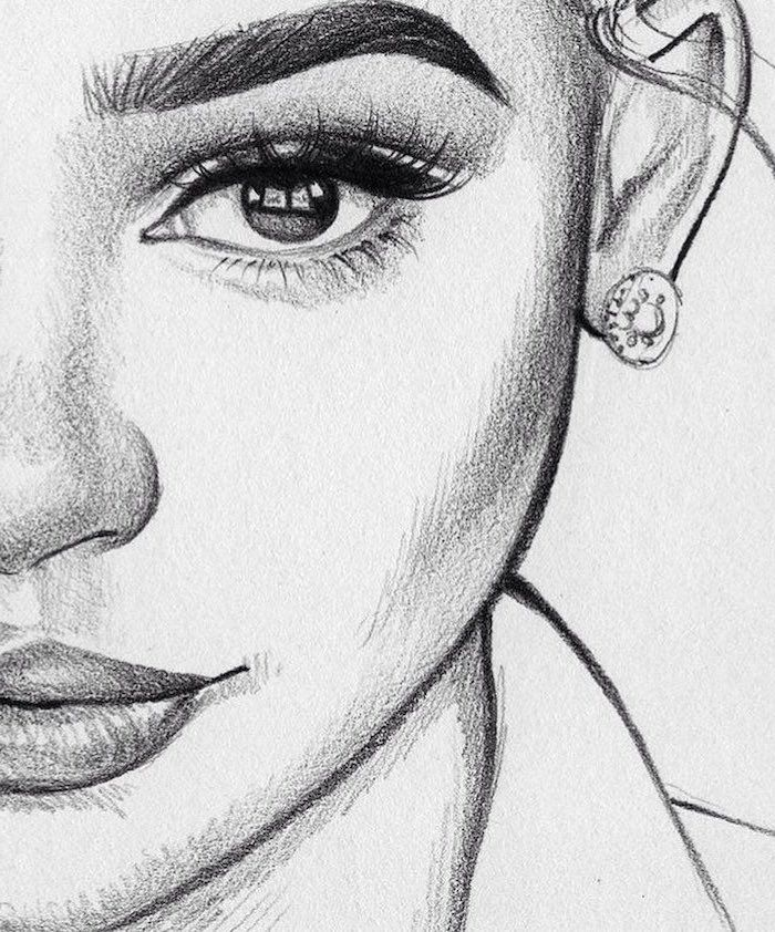 Black White Sketch Girl Close Up Earring How To Draw A Face Full Eyelashes In 2020 Female Face Drawing Portrait Drawing Face Drawing
