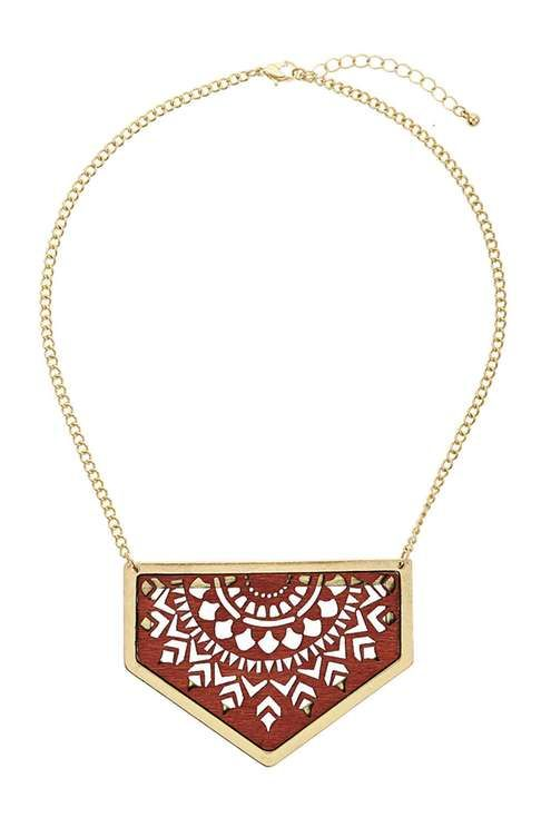 Cut-Out Wooden Triangle Necklace