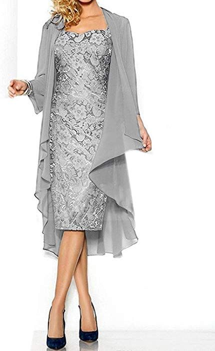 6e87555f30e Amazon.com  Women s Sexy Lace Mother of The Bride Evening Dress with Jacket  Silver US18W  Clothing