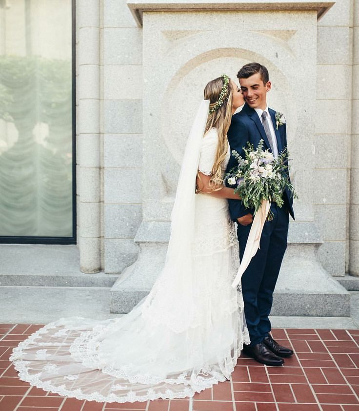 modest wedding dress with elbow sleeves from alta moda. -- (modest bridal gown)