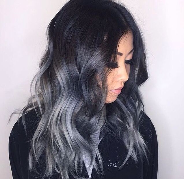 Black and silver metallic hair Ombre By @marybehindthechair