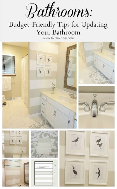 Tips & Tricks To Update Old Bathrooms: Budget friendly solutions anyone can use!...love the stripes on the small wall