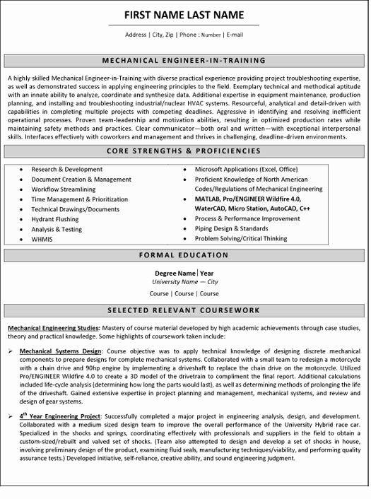 Mechanical Engineering Resume Examples Fresh Mechanical Engineer Resume Sample Tem In 2020 Mechanical Engineer Resume Engineering Resume Templates Engineering Resume