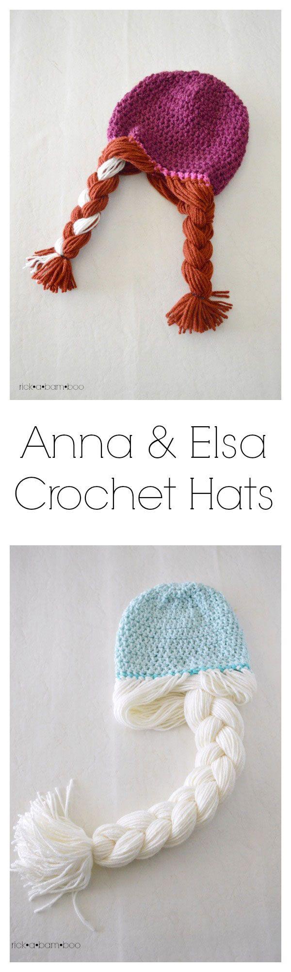 Make It: Anna & Elsa Crochet Hats - Free Pattern & Tutorial #crochet #frozen #disney