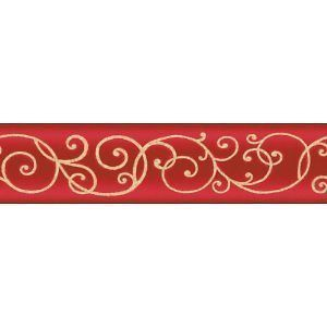 Best Victorian Scroll Red Rouge Bed Room Wallpaper Border Self 400 x 300