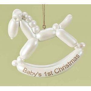 "Roman Pack of 6 Baby's First Christmas Balloon Animal Horse Keepsake Ornaments 4"" Christmas Ornaments"