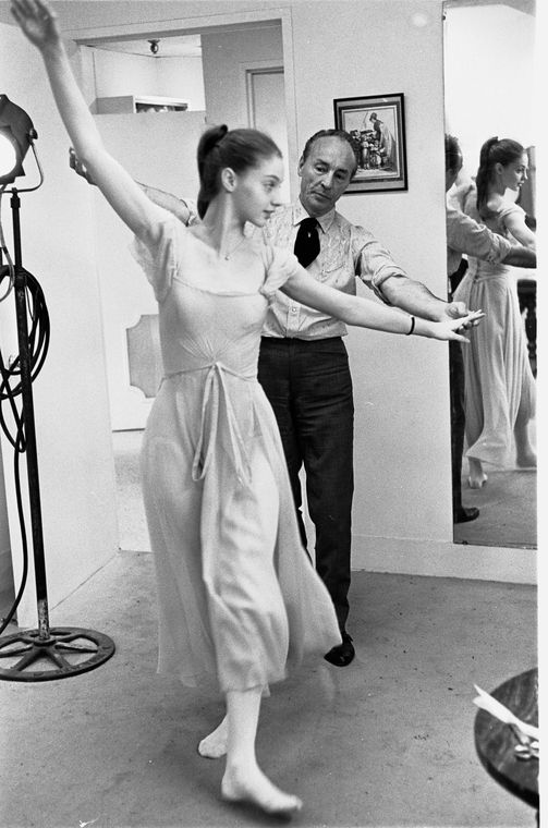 """.New York City Ballet Company costume fitting for """"Don Quixote"""" with George Balanchine and Suzanne Farrell, choreography by George Balanchine (New York)"""