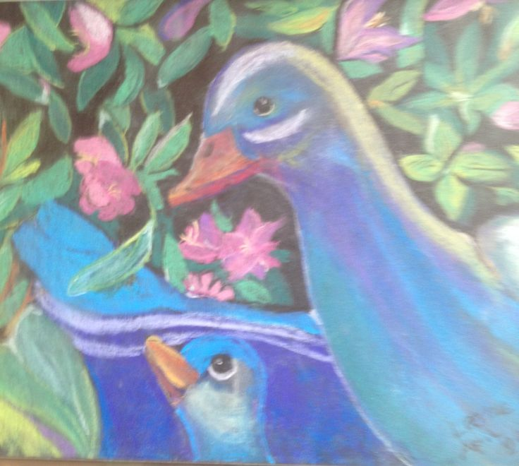 Birds made by conte crayons. Pastel