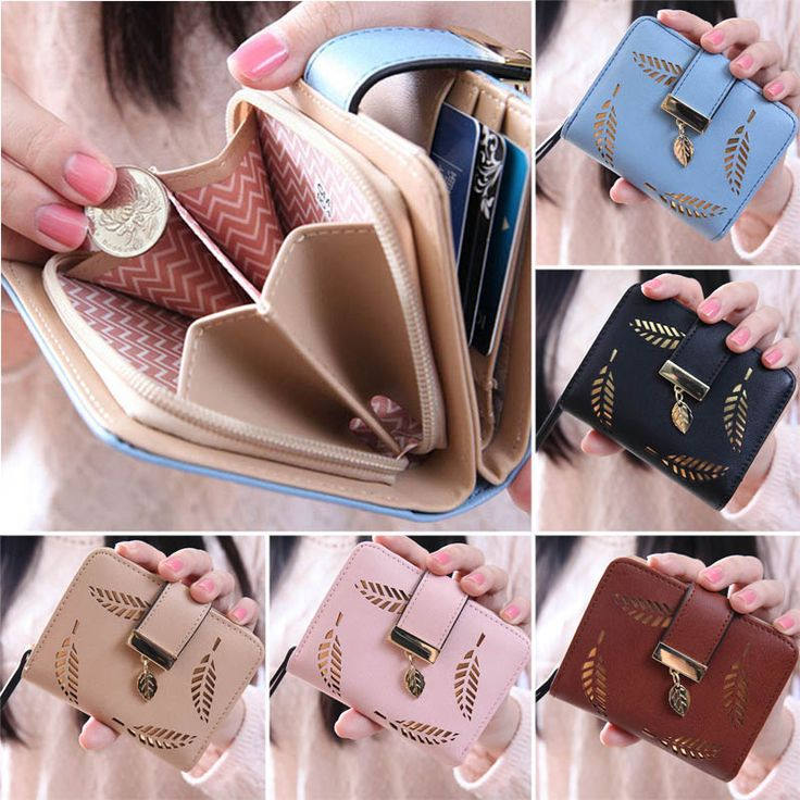 New Fashion Female Wallet Short Paragraph Hollow Gold Leaf Small Purse Large Capacity Wallets  BS88