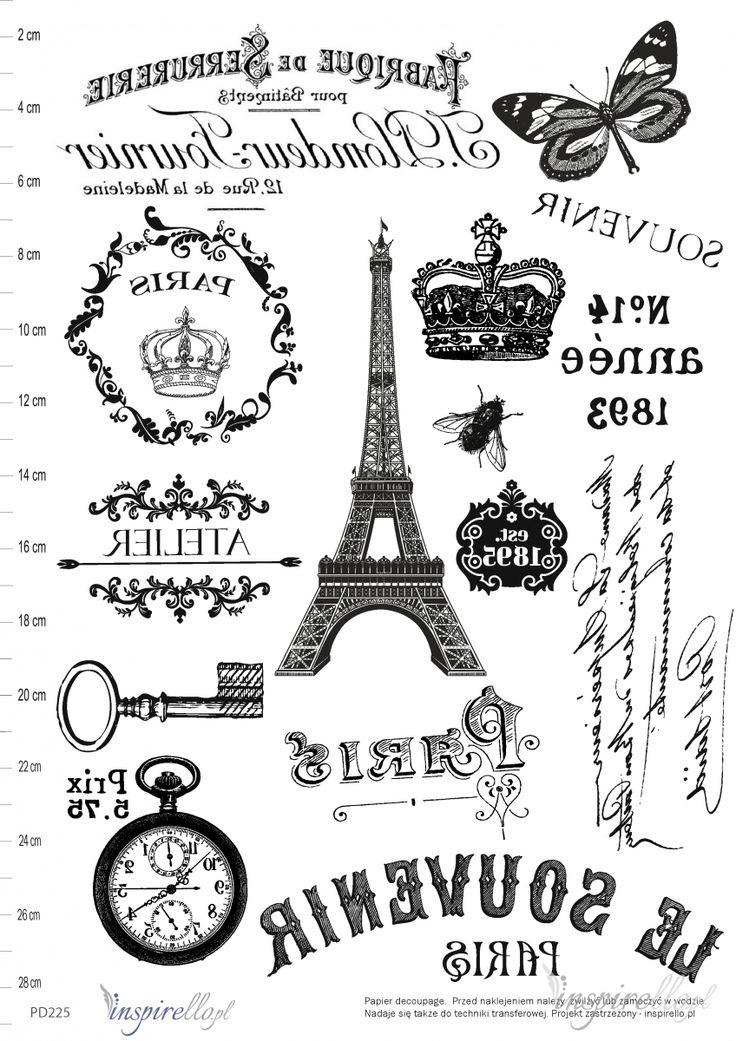 Elektroniczny papier decoupage: GRAFIKI VINTAGE - ODBICIE LUSTRZANE