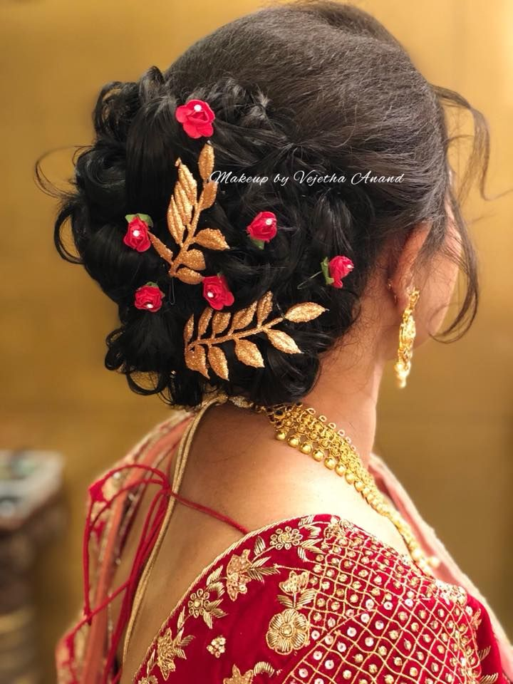 Pretty Bridal Updo By Vejetha For Swank Bridal Hairstyles For Reception Ind Bridal Hairstyle For Reception Indian Bridal Hairstyles Indian Wedding Hairstyles