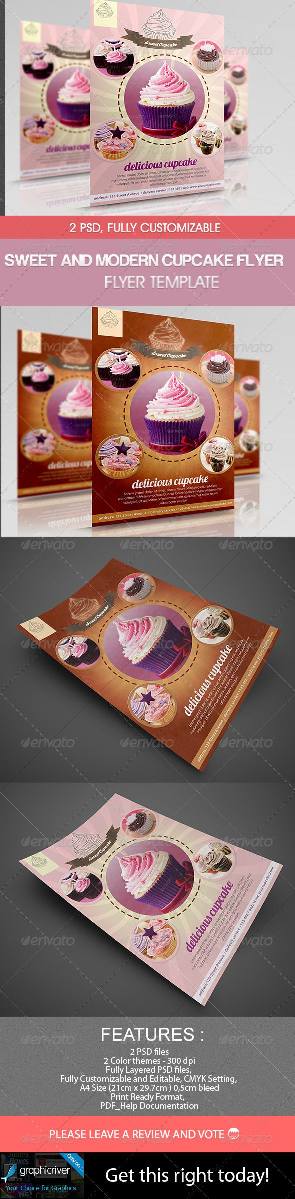 Sweet and Modern Cupcake Flyer - Restaurant Flyers