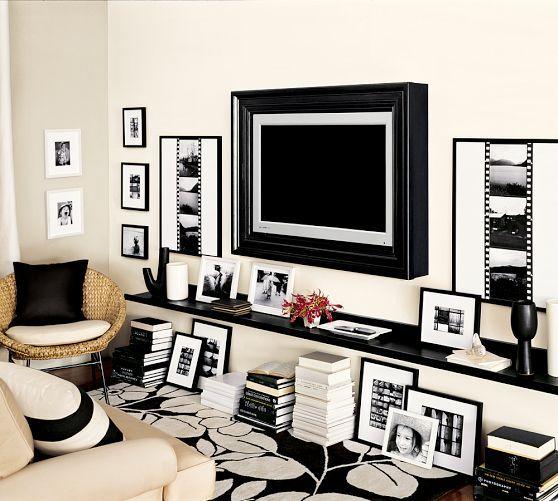 Holman Shelf   Pottery Barn  Brilliant idea! Wall-mounted TV w/a shelf running underneath for components & display items. <3