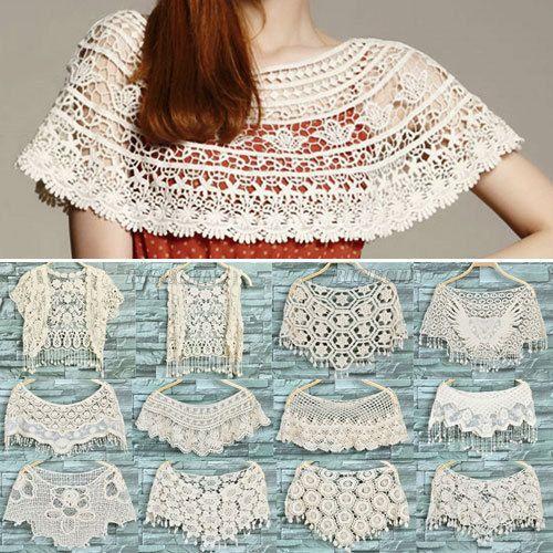 ✰♪ ✰ Capas encantadoras ou bonito do laço colarinho de gancho -  /   ✰♪ ✰ Très jolies capes ou jolis cols en dentelles crochet -