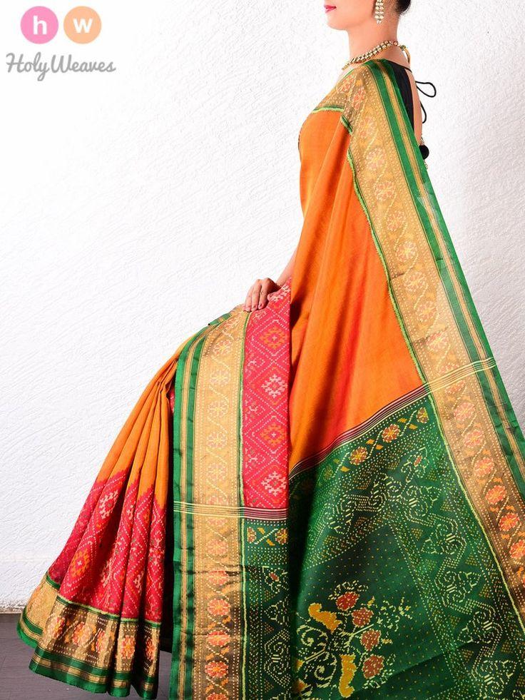 #Mustard #Katan #Silk #Patola #Handwoven #Saree #HolyWeaves