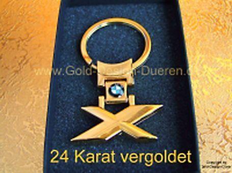 24 KARAT VERGOLDET BMW X Schlüsselanhänger, NEU,