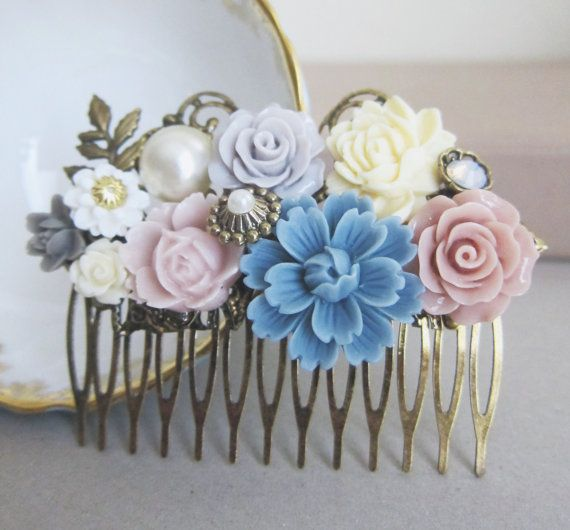 From our {PARIS MARIAGE} Collection: Wedding Hair Comb Bridesmaid Gift Pink Blush Cream Lilac Blue Ivory Soft Pastel Colors Flower Floral Shabby Chic Country Bridal Hair Pin