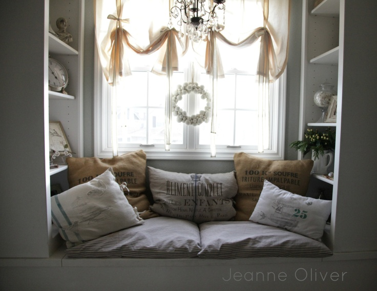 342 best images about book nooks and window seats on for Window seat curtains