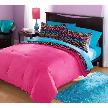 your zone mink rainbow zebra bedding comforter set, Multicolor