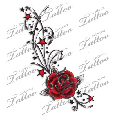 Marketplace Tattoo Red Rose, Stars & Swirls Tattoo #4935 ...