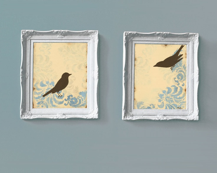 Love Bird Prints Home Decor French Country Cottage Chic Shabby 11 X 14 Inches