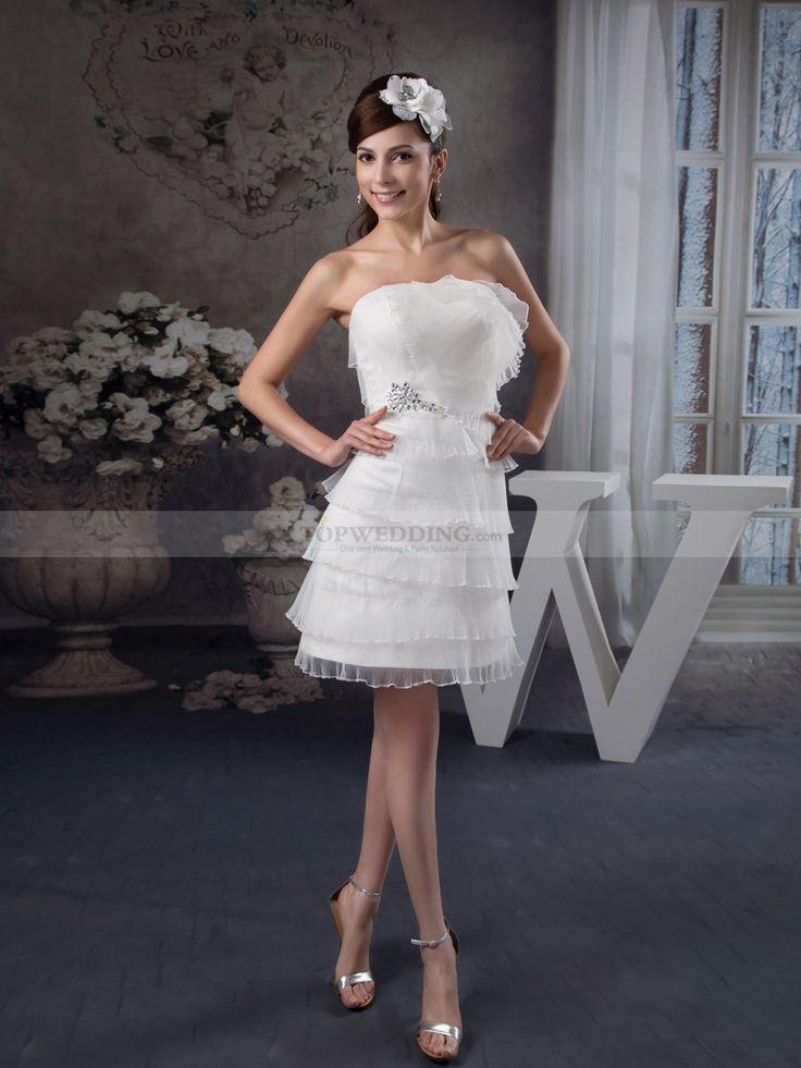 Olianna - corte a strapless vestido de novia de satén con rhinestone $218.99 Vestidos de Novia de Talla Pequeña