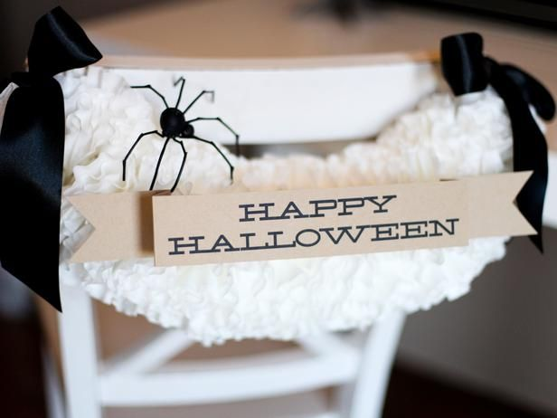 Turn coffee filters into fun Halloween chair decorations! >> http://www.diynetwork.com/decorating/halloween-chair-decoration/pictures/index.html?soc=pinterestHalloween Chairs, Halloween Projects, Halloween Parties, Halloween Decor, Black And White, Chairs Decor, White Halloween, Spooky Halloween, Coffee Filters
