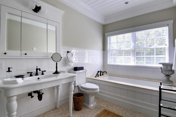 manchester subway tile bathroom ideas with traditional towel rings and shiplap ceiling medicine cabinet