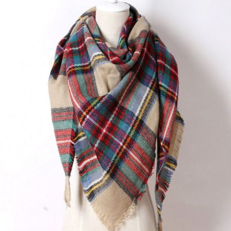 Warm Cashmere Plaid Women Scarf