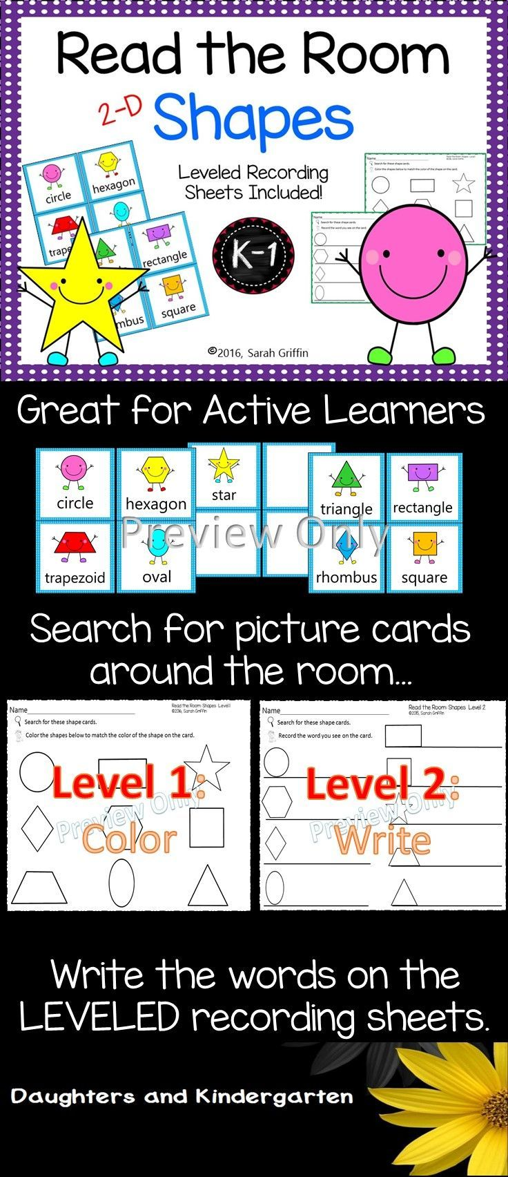 Learn to identify 2-D shapes and shape names with Read and Write the Room. Great interactive math and writing center for #PreK, #kindergarten, and #1st grade. #math . https://www.teacherspayteachers.com/Product/Read-the-Room-Shapes-2061047