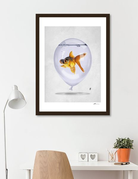 Discover «Inflated (Wordless)», Numbered Edition Fine Art Print by rob art | illustration - art | decor | wall art | inspiration | animals | home decor | idea | humor | gifts