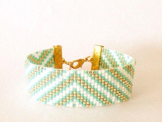 Aqua cuff bead loom bracelet - friendship bracelet, bead loom bracelet, hipanema bracelet, boho bracelet, tribal, aztec, native american