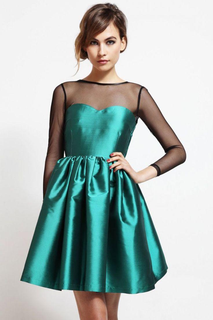vestido corto de fiesta vuelo saten verde falda volumen para invitada boda nochevieja